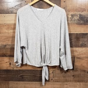 Final touch Heather gray front tie dolman sleeve